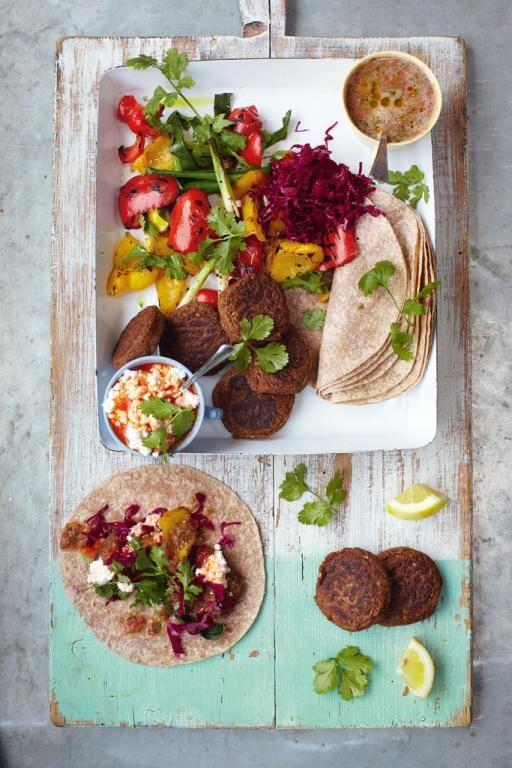 Falafel wraps and grilled veggies with salsa | Our favorite Jamie Oliver Vegetarian Recipes