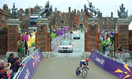 Great Britain's Emman Pooley during the Women's Individual Time Trial on day five of the London Olympic Games at Hampton Court Palace. Photograph: Owen Humphreys/PA