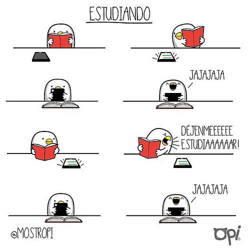 Déjenmeeee estudiaaaar!!! #OPI #cute #kawaii #mostropi #ilustración #estudiando   por OSCAR OSPINA STUDIO