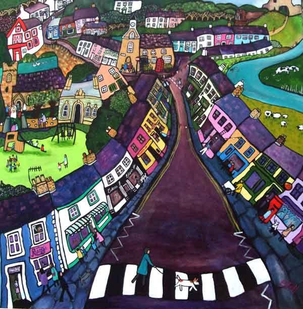 Helen Elliott's Home Town - Newcastle Emlyn West Wales, painted by Helen