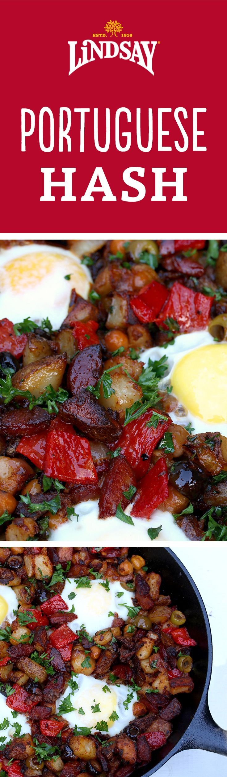 Breakfast? Or breakfast for dinner? Your choice! This Portuguese Potato Hash with linguica sausage, peppers & olives is a delicious one pot recipe for fall and winter!