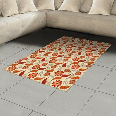 East Urban Home Orange Area Rug Rug Size: Rectangle 4′ x 5'8″