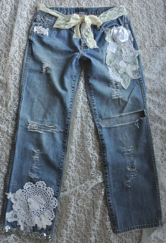 A SALE embellished jeans Boho lace jeans by TrueRebelClothing, $76.00