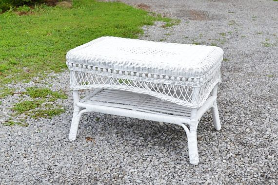 Vintage White Wicker Coffee Table End Table Summer Porch