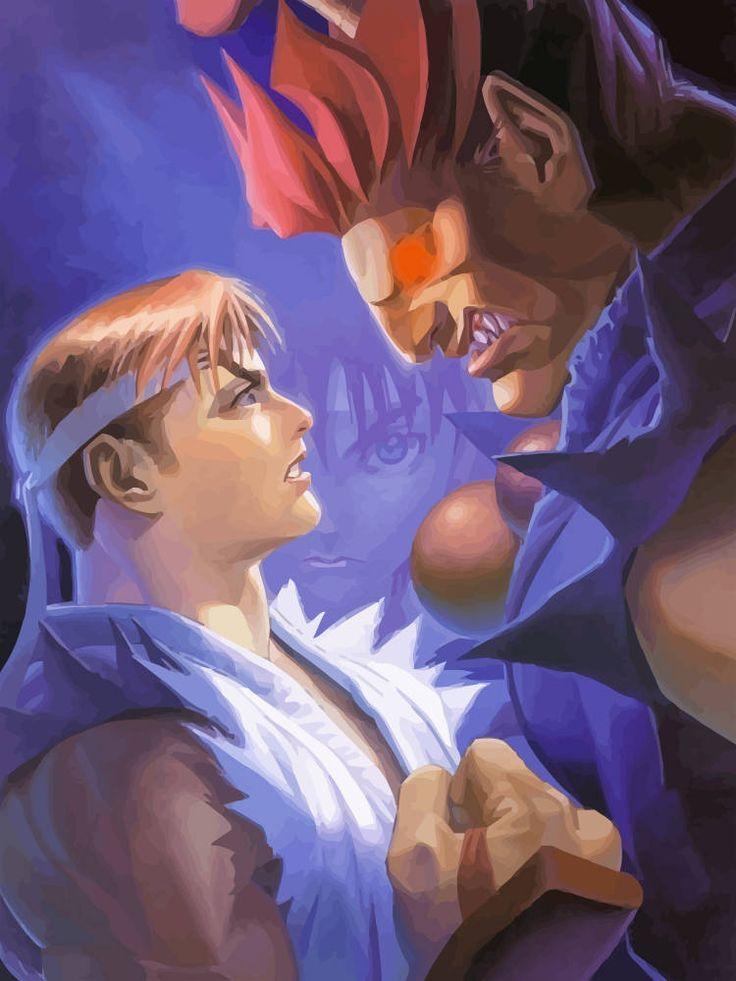Capcom Street Fighter Alpha 2 Ryu, Akuma, Sakura Digital Art Poster. by GamingTee on Etsy