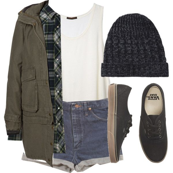 Fall Vans style | army green jacket | plaid | denim high waisted shorts