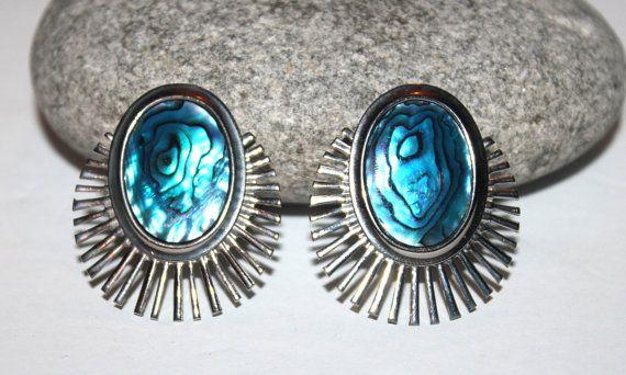 Womens Vintage Abalone Burst Earrings, Ciip On, VIbrant Blue, Starburst, Costume Jewelry on Etsy, $11.33 CAD