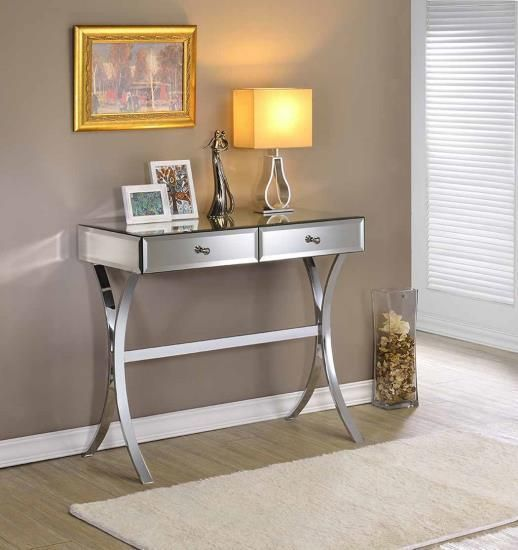 Contemporary Accent Mirror & Chrome Finish Console / Entryway Table w/ 2 Drawers #Contemporary