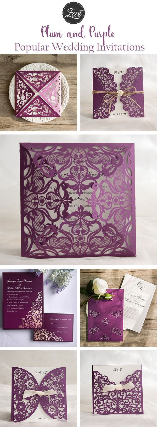 popular plum purple wedding invitations from elegant wedding invites