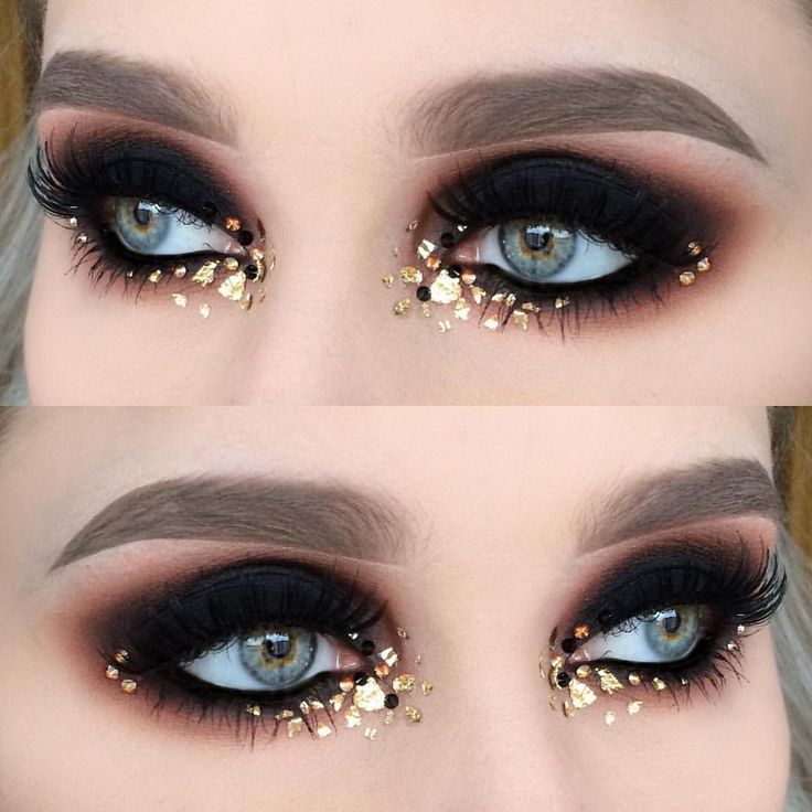 Smokey eye make up, gold glitter and sequins