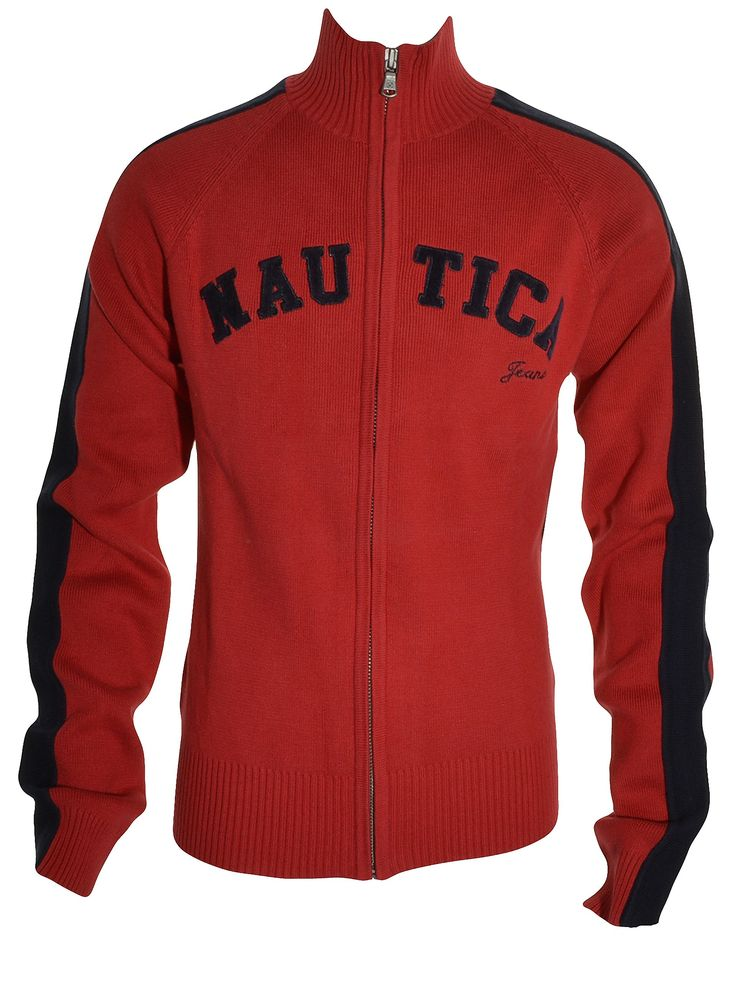 Nautica Boys Signature Full Zipper Sweater Knit Jacket (Red Black, Small 8-10). Full Zipper Front. Raised Signature Logo. Ribbed Cuffs, Hem, Sleeves. Long Sleeves. Youth - Big Boys Sizing - Small (Age Range 8-10).