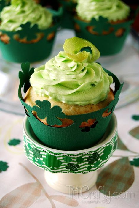 free studio cut file cup cake wrappers St. Patrick's Day Lime White Chocolate Chips Cupcakes + Freebie | The Crafting Nook by Titicrafty