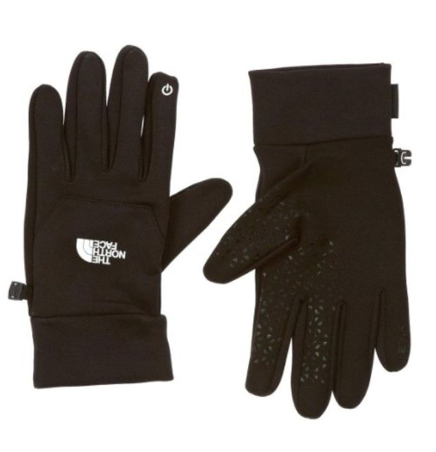 The North Face Etip Glove £9.72 – £42.99 For outdoor athletes who want to stay digital device enabled, choose The North Face etip glove with touchscreen connectivity. The four way stretch fleece glove features radiametric articulation and a 5 dimensional fit. A silicone palm ensures good grip on ski poles, bike handle bars or ice axes.