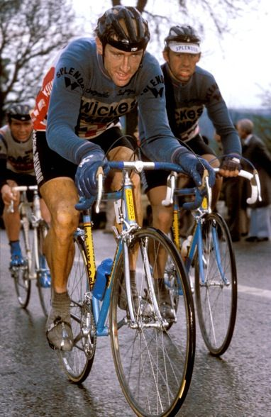 Sean Kelly with Claude Criquelion at the 1981 Liege-Bastogne-Liege. Thanks to Red Kite Prayer for the image.