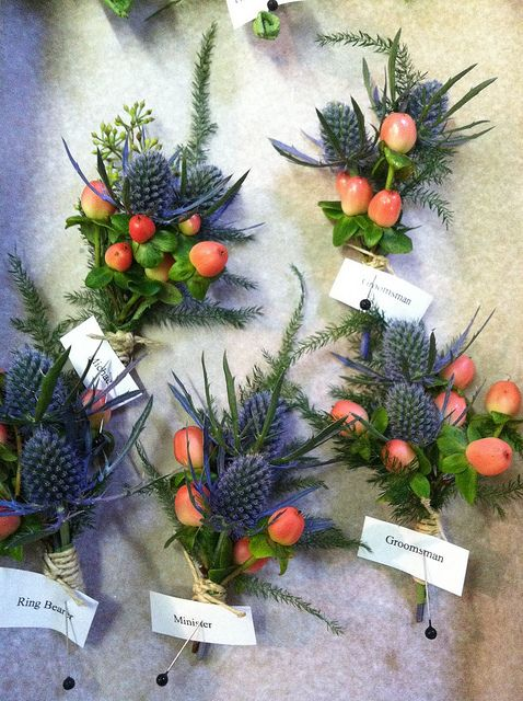 Boutonnieres - thistle, hypericum berries & greenery - tied with twine | Flickr - Photo Sharing!