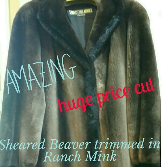 Sheared Beaver with Mink Coat  PRICE NEGOTIABLE Phantom Sheared Beaver with detachable hood, designed by The Antonio Team. There is truly nothing like it. I've tried on many fur coats, not one ever compared to this one. It is a definite attention getter, you cannot believe the softness of it. It is as elegant from the back as it is from the front. Detachable hood, three hook and loop closure. Was cleaned and stored at Alaskan Fur. Trimmed in Ranch Mink. Fur origin Canada. I will pay…