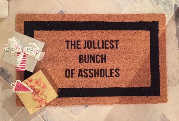 Coconut Coir Doormat - The Jolliest Bunch of Assholes 18 x 30 Greet your guests with this Christmas Vacation themed door mat! If this doesnt scream Christmas spirit - I dont know what does. | Hand Painted | Luxe Lumber Company