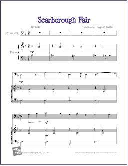 Scarborough Fair | Free Sheet Music for Trombone - http://makingmusicfun.net/htm/f_printit_free_printable_sheet_music/scarborough-fair-trombone.htm