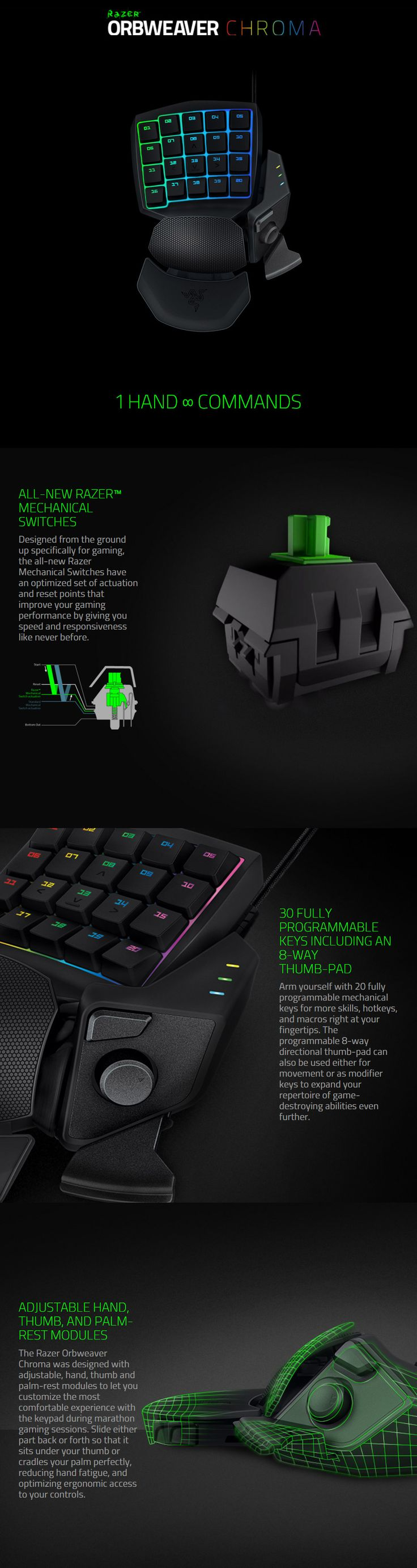 Razer Orbweaver Chroma Mechanical Gaming Keypad available to buy online from PC Case Gear – Australia's Premier Online PC Store.