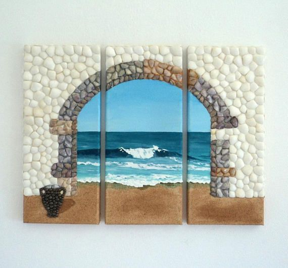 Acrylic Painting, Artwork with Seashells, Triptych of Archway & Urn in Seashell Mosaic on Sand, Mosaic Art, 3D Art Collage, Wall Decor, Home Decor #ArtworkwithSeashells #mosaiccollage #seashellmosaic #homedecor #walldecor #3D