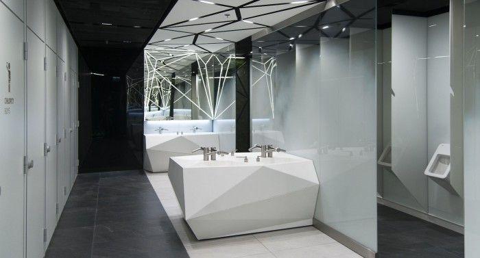Design of the interior for public toilets and corridors in SC Złote Tarasy, stage 01. #geometric #minimal #zlotetarasy #architecture #design #interiors #art #light #plants #black #white #mirror