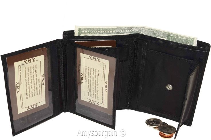 Men'S Wallet. Leather Bifold Wallet 2 Flip Side Pieces 8 Card 3 Id Zip Coin Case