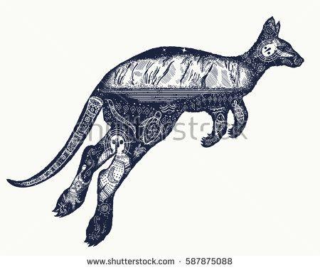 Kangaroo double exposure tattoo art. symbol of Australia, travel and tourism. Kangaroo t-shirt design