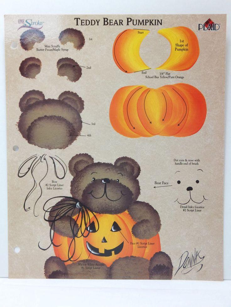 Donna Dewberry One Stroke Painting RTG Teddy Bear Pumpkin Worksheet Halloween