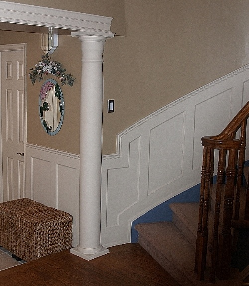Grey Panelling Under Stairs: Wall Paneled Wainscoting On Curved Stairs