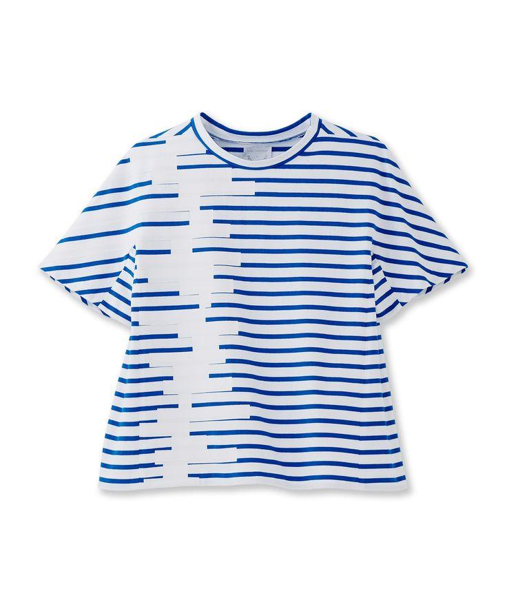 Marinière par le créateur Kenta Matsushige blanc Ecume / bleu Delft - Petit Bateau