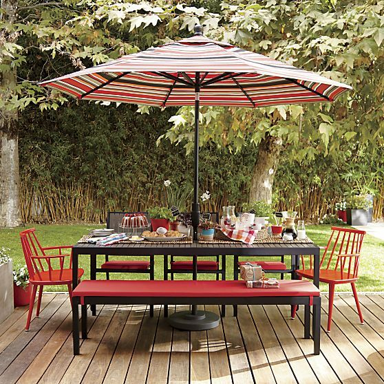 Alfresco Sunbrella® Ribbon Red Dining Bench Cushion in Alfresco Collection | Crate and Barrel