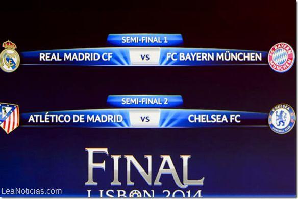 Estos serán los duelos en semifinales de la Champions League - http://www.leanoticias.com/2014/04/11/estos-seran-los-duelos-en-semifinales-de-la-champions-league/