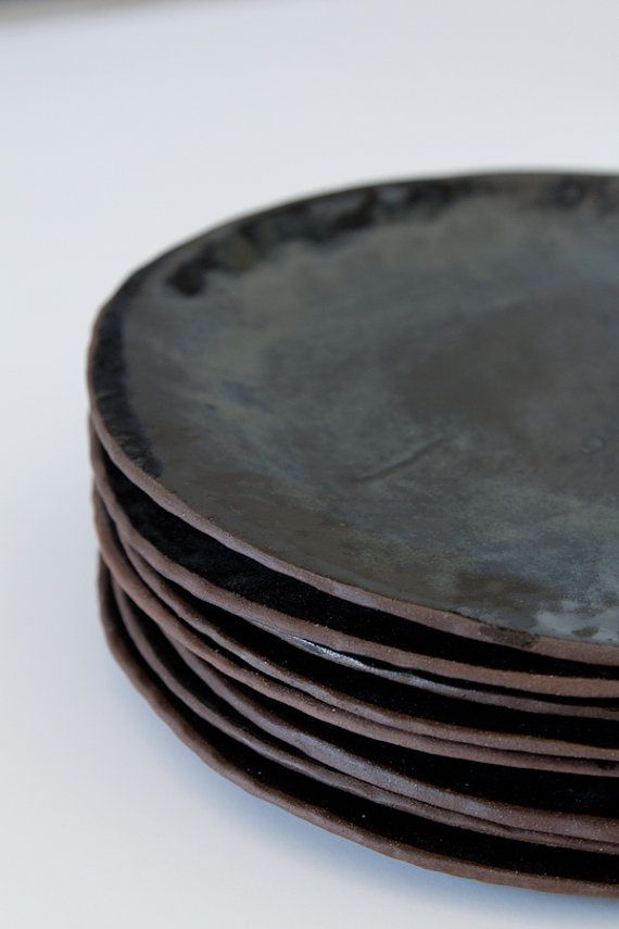 step out of the box and love pottery   Black Glazed Brown Stoneware Plates by FiftyOneandaHalf