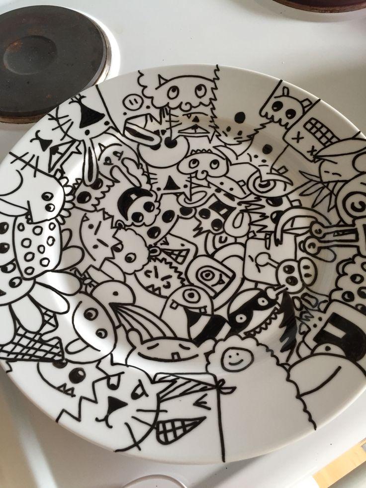 Full monster plate in doodle art