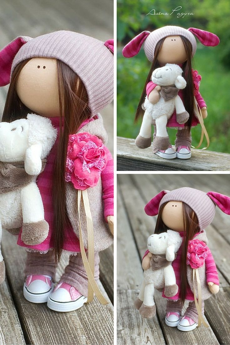 Handmade doll toy Tilda doll Interior doll Art doll brunette pink colors soft…