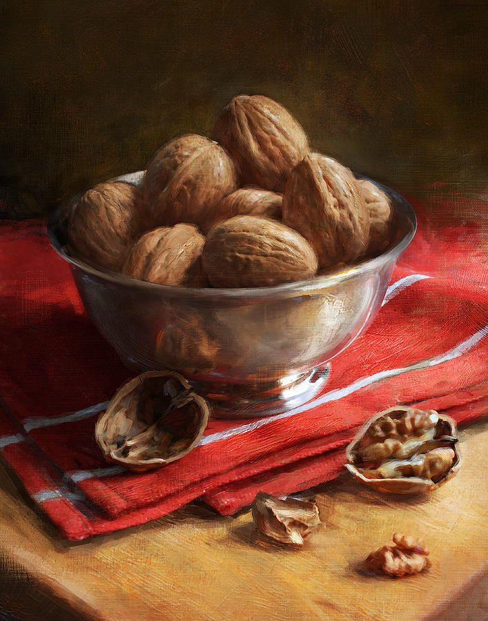 Walnuts On Red Painting by Robert Papp - Walnuts On Red Fine Art Prints and Posters for Sale