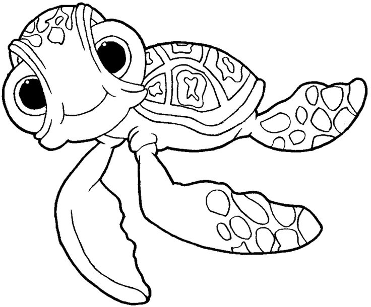 How to Draw Squirt the Turtle from Finding Nemo with Easy ...