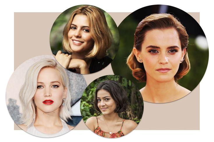 Corte trapézio: Jennifer Lawrence, Juliana D'Avila, Giullia Buscacio e Emma Watson  (Foto: Reprodução e Getty Images)