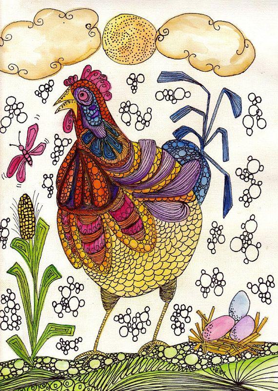 Chicken Original 9X12 Watercolor Outsider Folk Doodle Art By HEIDIofTUCSON