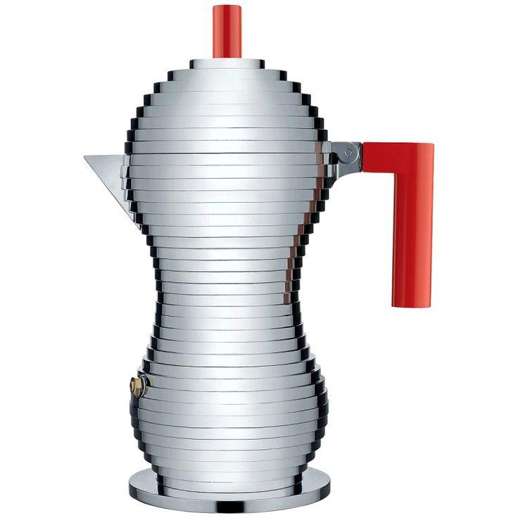 Espressokanne Griff rot 6 Tass Pulcina
