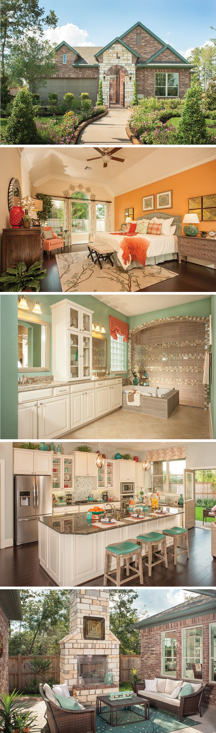 The Windson by David Weekley Homes in The Falls - Sundance Lake is a 3 bedroom, 2 bathroom floorplan that features a large owners retreat with tray ceilings, an open family room and kitchen layout and a private courtyard with a fireplace. Custom home upgrades include a fireplace in the family room, an extended owners retreat or a cover over the courtyard.