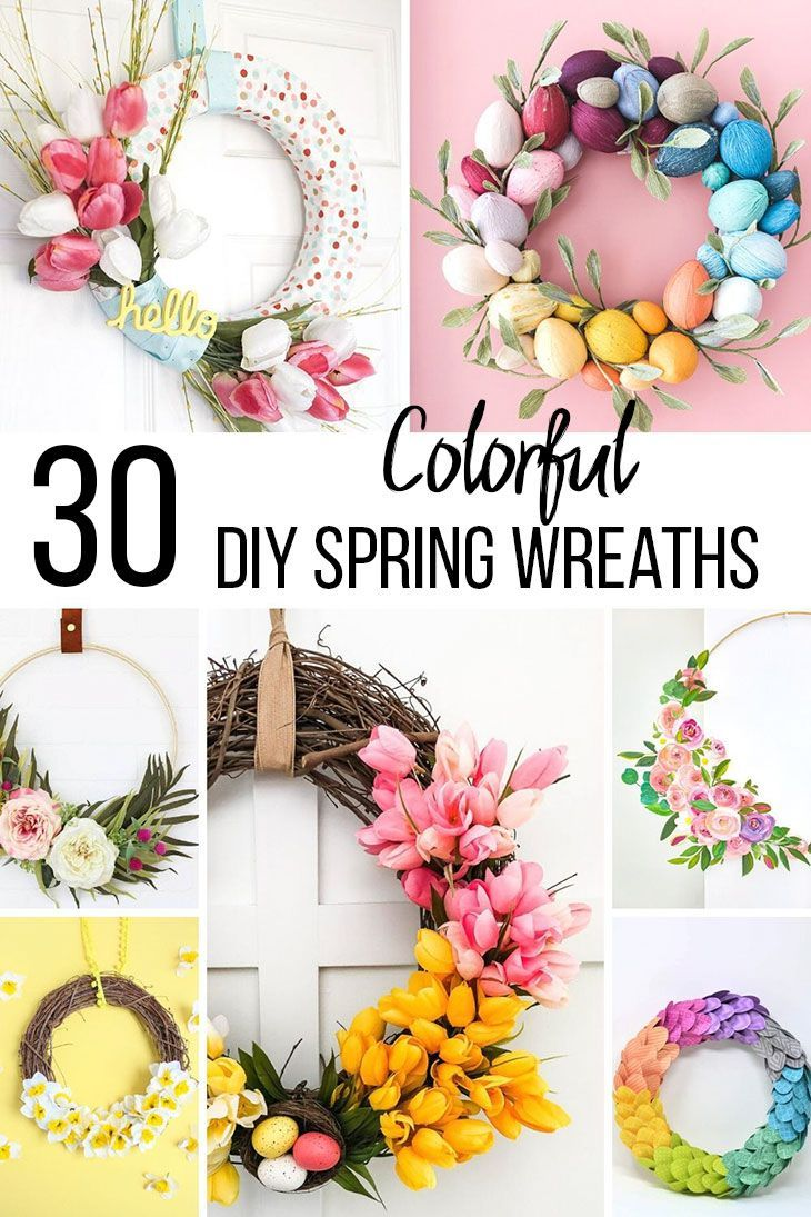 30 Colorful And Cheerful Diy Spring Wreath Ideas Anika S Diy Life In 2020 Diy Spring Wreath Spring Diy Colorful Wreath