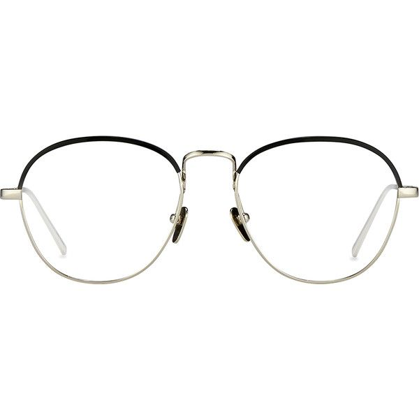 Oval Optical Frames in White Gold and Black - Linda Farrow ($640) ❤ liked on Polyvore featuring accessories, eyewear, eyeglasses, tortoise shell eyeglasses, tortoise shell glasses, oval eyeglasses, tortoiseshell eyeglasses and linda farrow eyewear