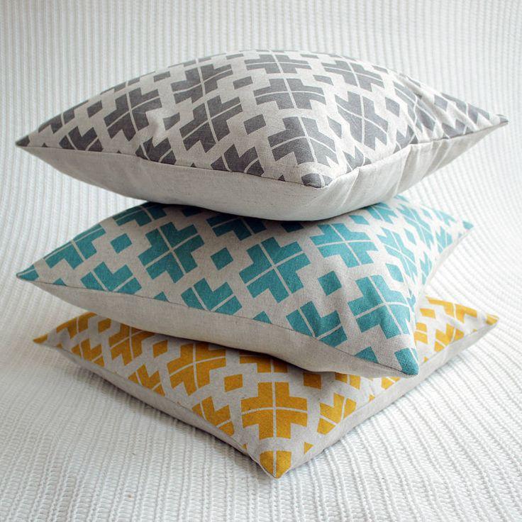 saffron yellow patterned linen cushion cover by silk & burg | notonthehighstreet.com