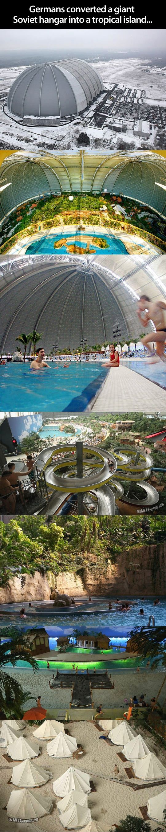 Giant indoor water park that was once a Soviet hanger. Been there done that.