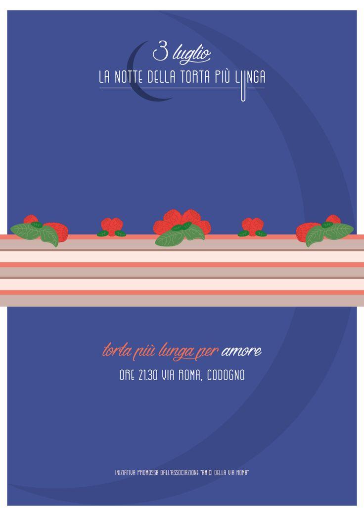 #illustration #cake #cakedesign #party #night  #Illustrazione per evento benefico. La #notte della torta più lunga, la #torta più lunga per amore