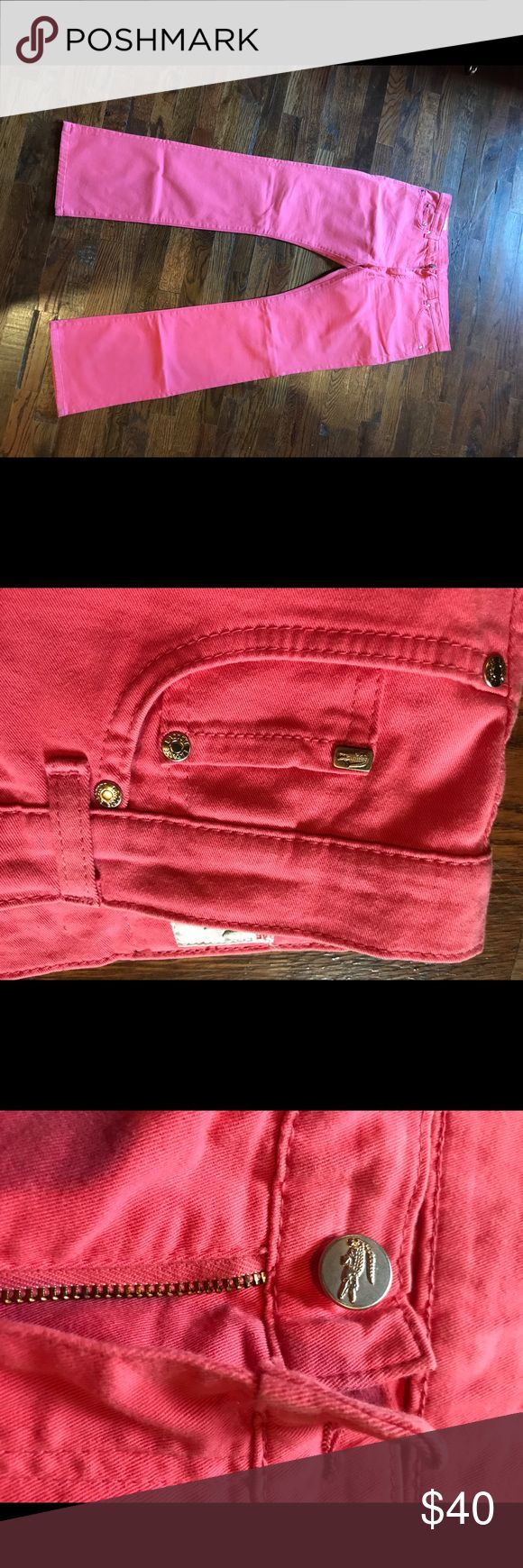 Lacoste Pink Jeans Boot Cut These are a lovely pink and they are a 36 in inseam. They do have a nice stretch and fit snug. Please note, I have gotten a spot on the leg, as show in the picture. Lacoste Jeans Straight Leg
