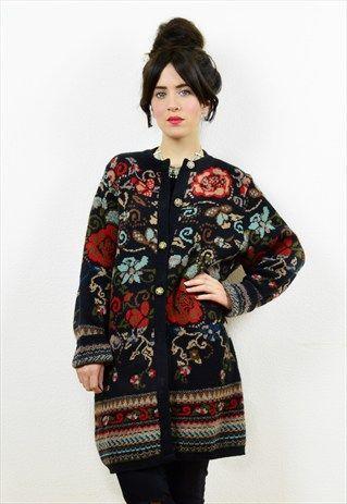 90s+long+boho+floral+print+cardigan