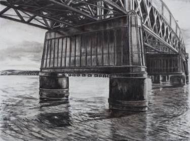 """Saatchi Art Artist Liudmila Pisliakova; Drawing, """"Tay Rail Bridge"""" #art"""