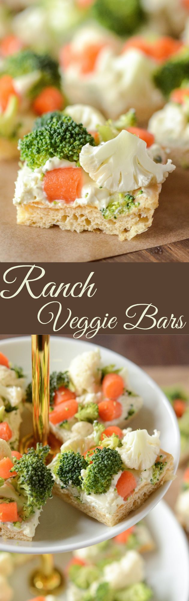 Ranch Veggie Bars - my favorite appetizer for a baby shower or to bring to a work potluck!